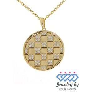 Solid Cluster Diamond Round Pendant Yellow Gold